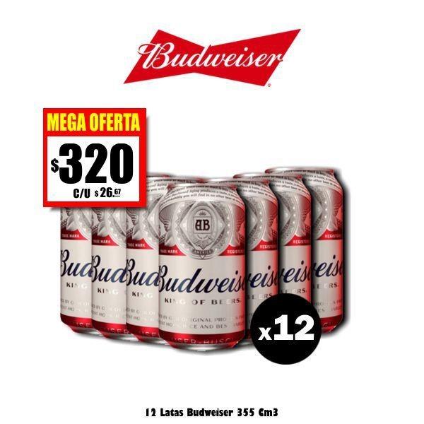 MEGA OFERTA -Lata Budweiser 354Cm3 x12