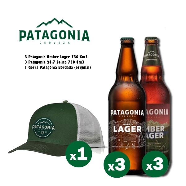 1 Gorra Patagonia + 3 Pat Amber + 3 Pat Hppy Lager