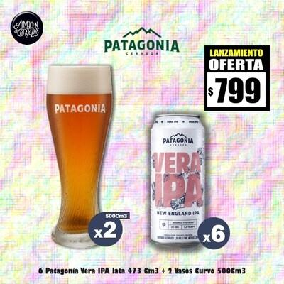 LANZAMIENTO-6 Pat VERA IPA Lata 473Cm3 + 2 Vasos 500Cm3