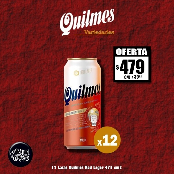 OFERTA - Quilmes Red Lager Lata 473Cm3x12