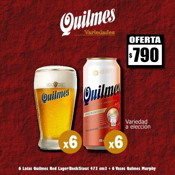 6 Quilmes Variedad Lata 473Cm3 + 6 Vasos Murphy