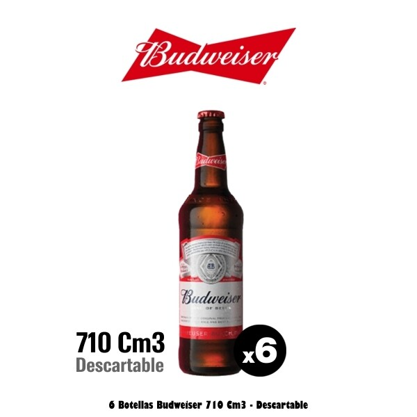 Budweiser 710Cm3 x 6 Descartable