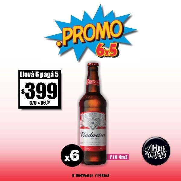 PROMO 6x5 - Budweiser 710Cm3 x 6 Descartable