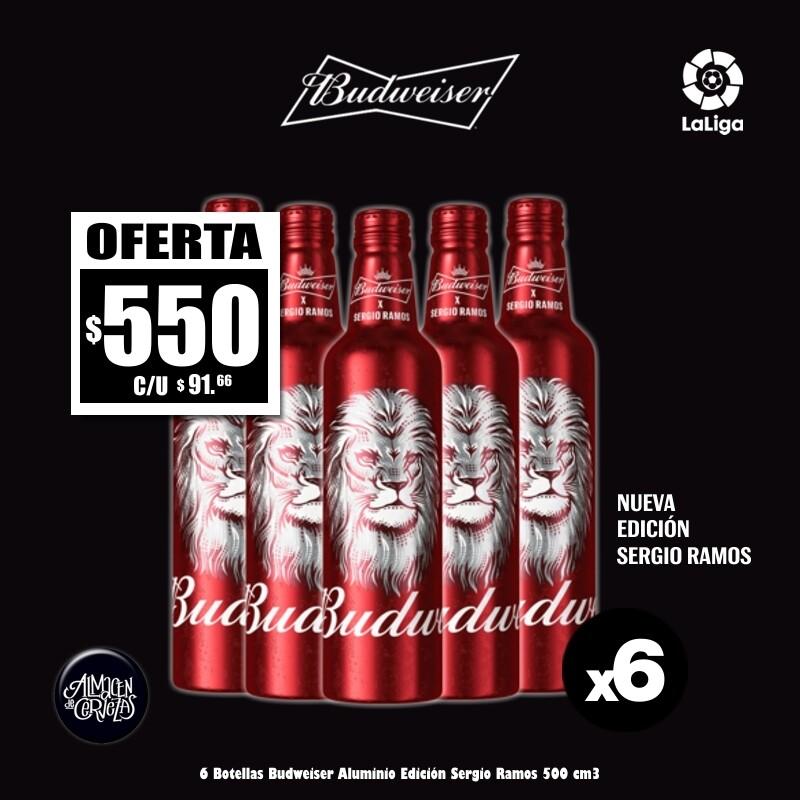 6 Botellas Aluminio Bud edición SERGIO RAMOS