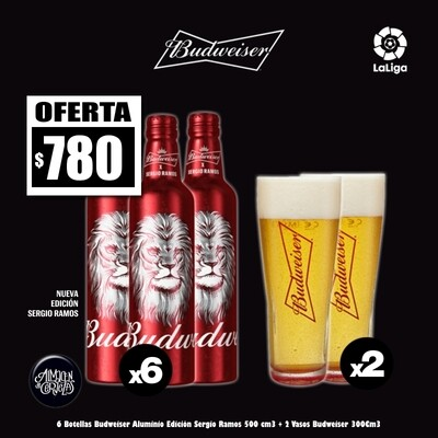 6 Bot Bud SERGIO RAMOS + 2 Vasos Budweiser
