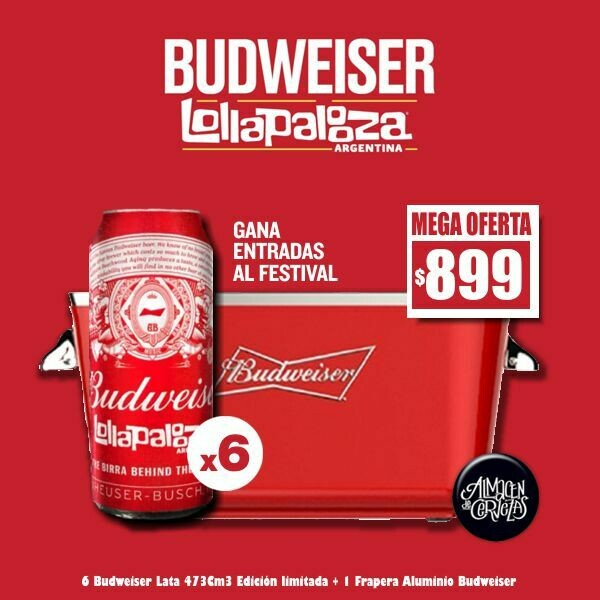OFERTA - Lollapalooza 6 Bud Lata + Frapera