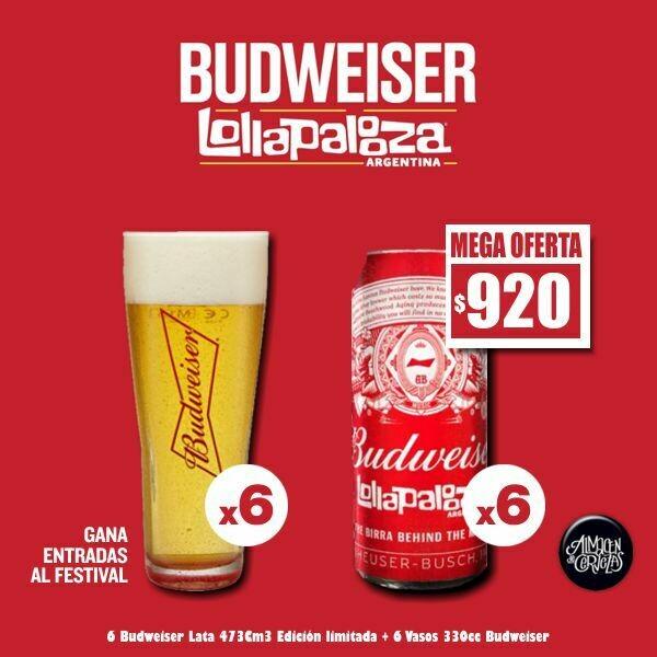 OFERTA - Lollapalooza 6 Bud + 6 Vasos Bud 330cc