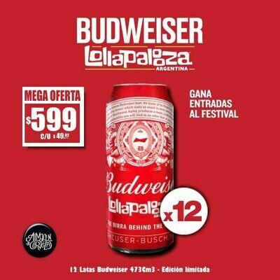 OFERTA - Lollapalooza Budweiser Lata 473 Cm3 x12