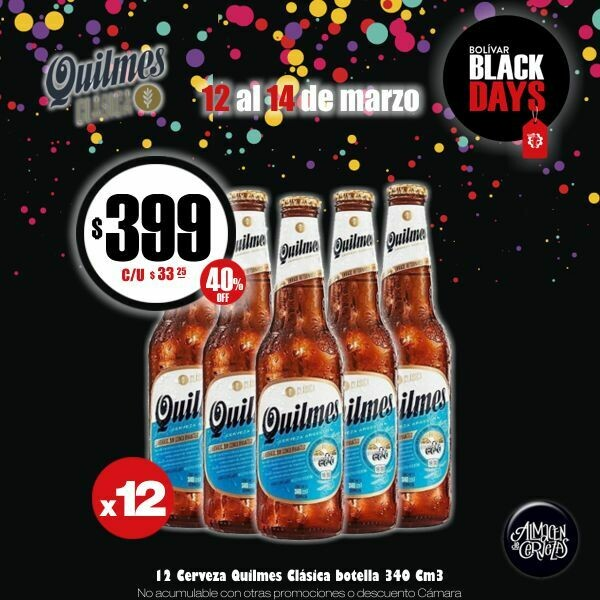 BLACK DAYS - 12 Quilmes porron 340cm3