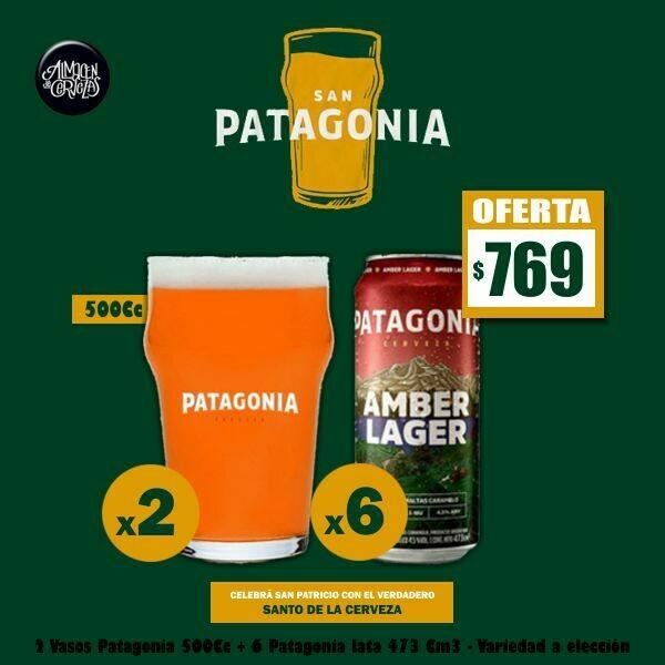 SAN PATAGONIA - 6 Latas Patagonia 473Cm3 + 2 Vasos 500Cc