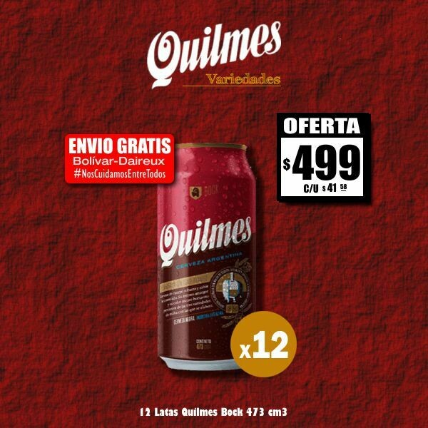 #QuedateEnCasa - 12 Quilmes Bock Lata 473Cm3