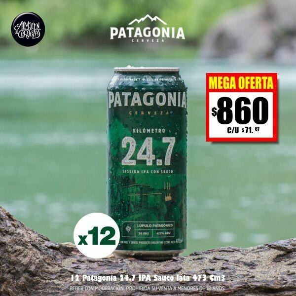 MEGA OFERTA - 12 Patagonia 24.7 IPA Sauco Lata 473Cm3