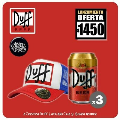 LANZAMIENTO - 3 Lata Duff 330Cm3 + 1 Gorra Duff