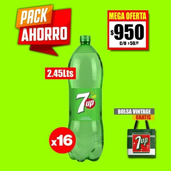 PACK AHORRO - 16 Botellas 7up 2450Cm3
