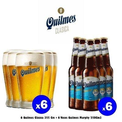 6 Quilmes 340cM3 + 6 Vasos Murphy