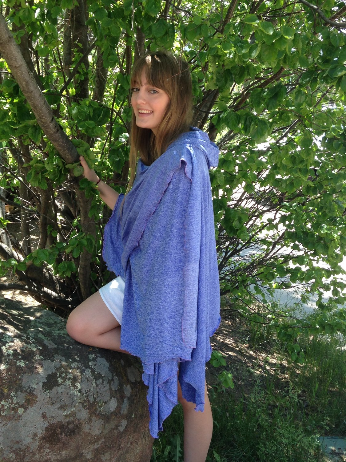 SPF 50 Long Hooded Shawl Periwinkle