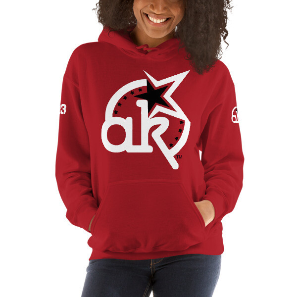 23 AKSA LOGO Red HOODED SWEATSHIRT L