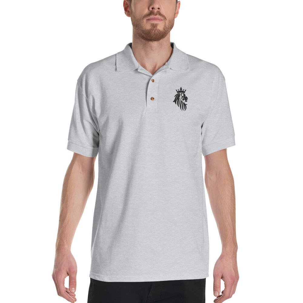 KO King Lion Gry Embroidered Polo Shirt