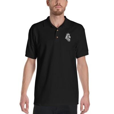 KO King Lion Blk Embroidered Polo Shirt