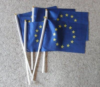 5 handheld EU flags (20cm x 14cm) (UK postage included)