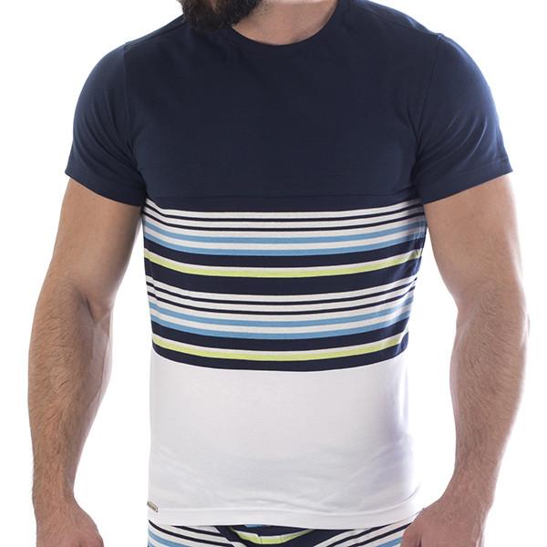 Manor Stripes Teget-Belo-Četvorobojna Majica