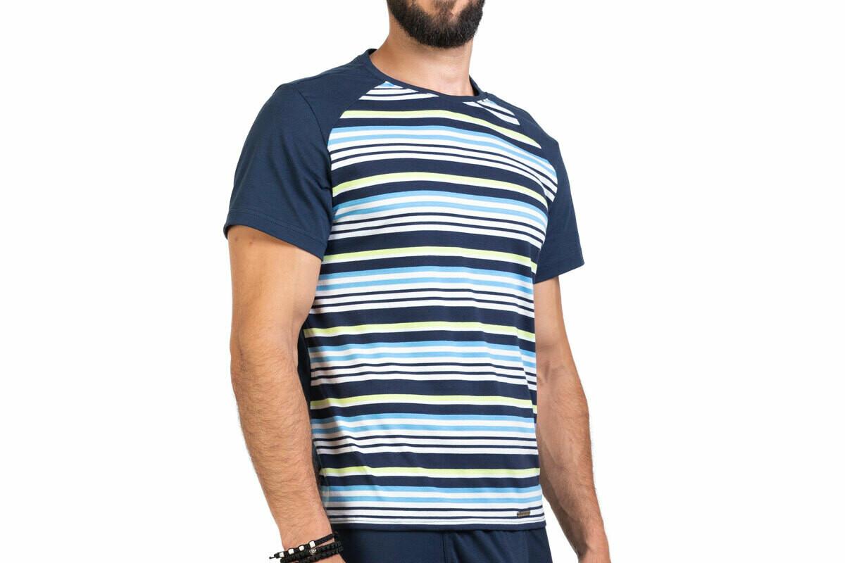 Manor Stripes Teget-Četvorobojna Majica