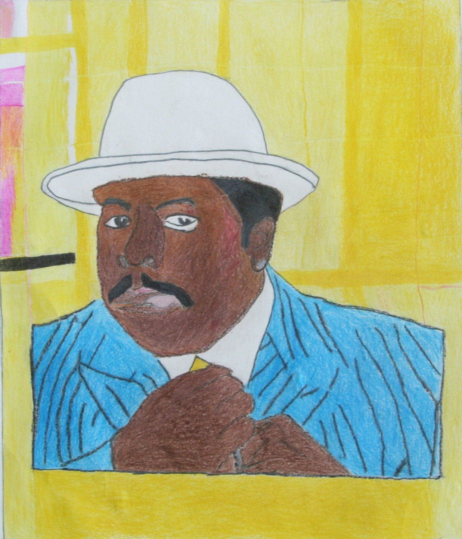 Man in Pinstripe Suit