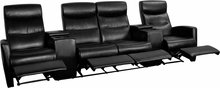 4-SEAT RECLINING BLACK LEATHER THEATER SEATING UNIT WITH CUP HOLDERS