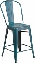 Kelly Blue Indoor/Outdoor Counter and bar height stools