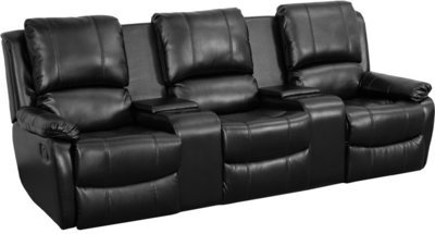 3-SEAT RECLINING PILLOW BACK BLACK LEATHER THEATER SEATING UNIT WITH CUP HOLDERS