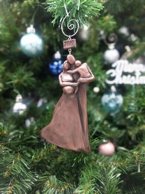 Copper Pregnant Couple Christmas Ornament, Expecting Family Christmas Ornament with a Toddler