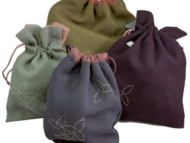 Kinchaku Drawstring Bag / Crepe fabrics