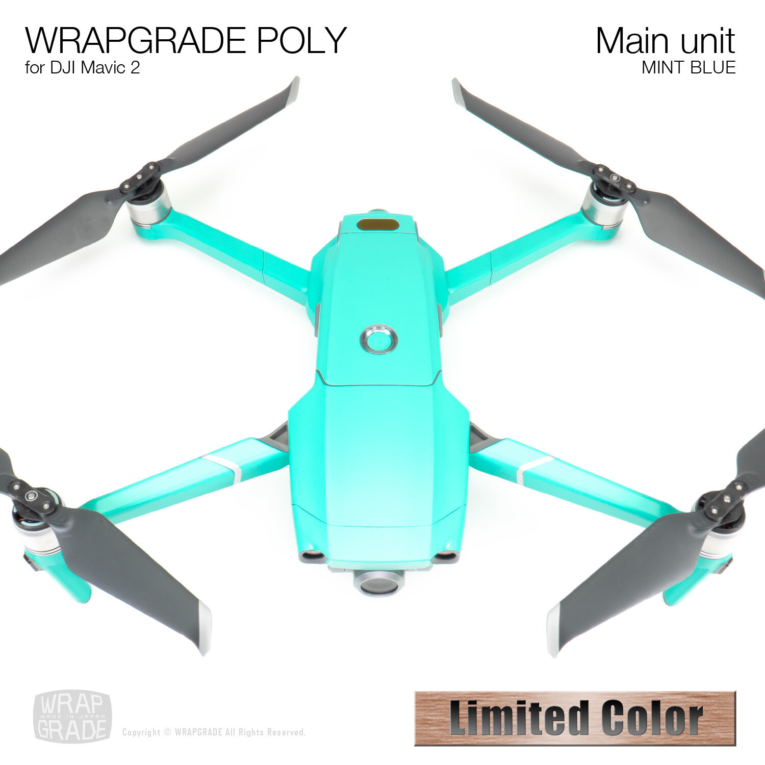 Wrapgrade Poly Skin for DJI Mavic 2 | Main unit (MINT BLUE)【Limited】