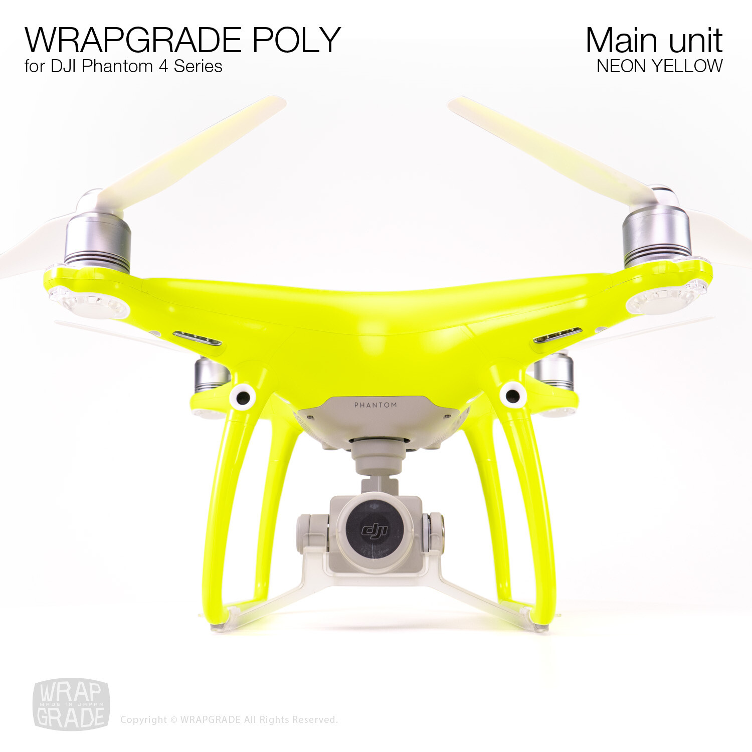 Wrapgrade Poly Skin for DJI Phantom 4 | Main unit (NEON YELLOW)