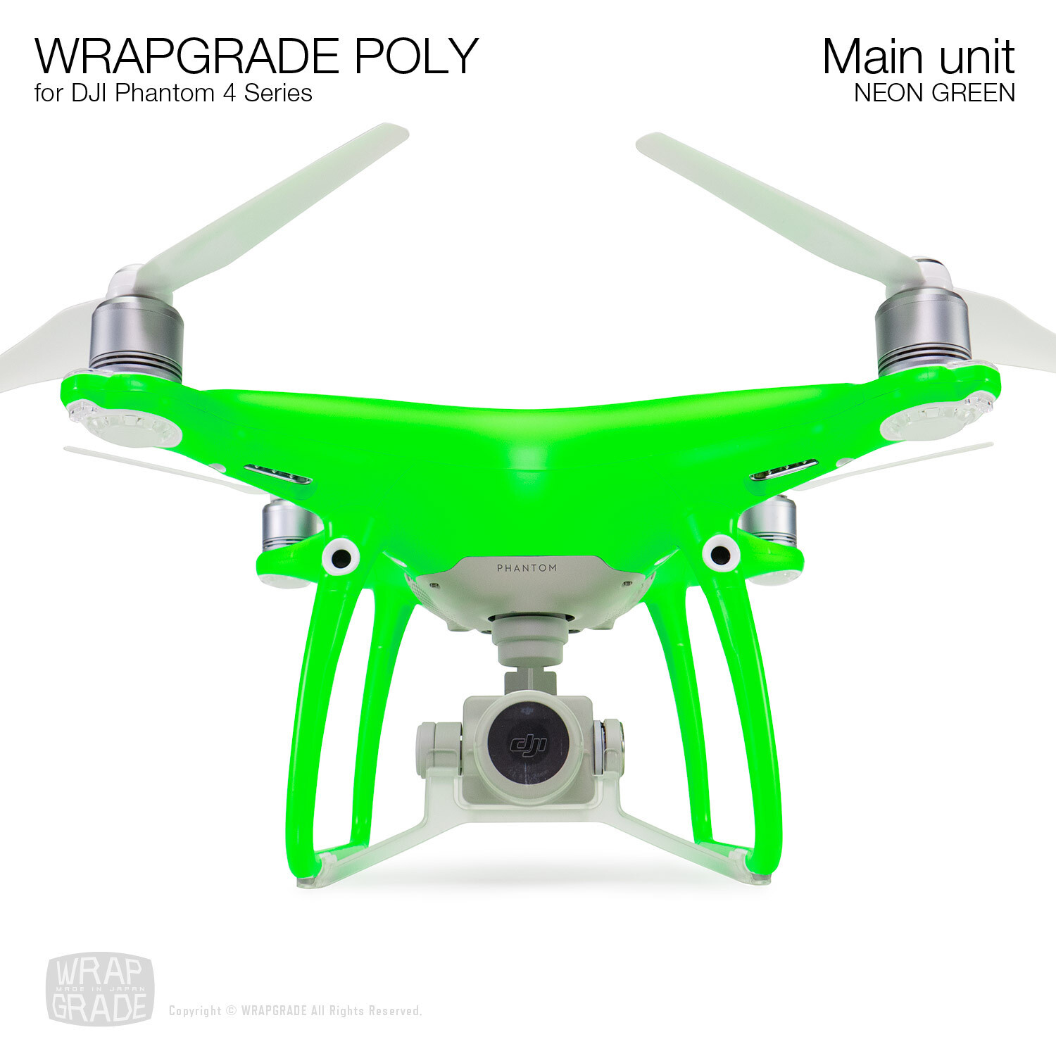 Wrapgrade Poly Skin for DJI Phantom 4 | Main unit (NEON GREEN)