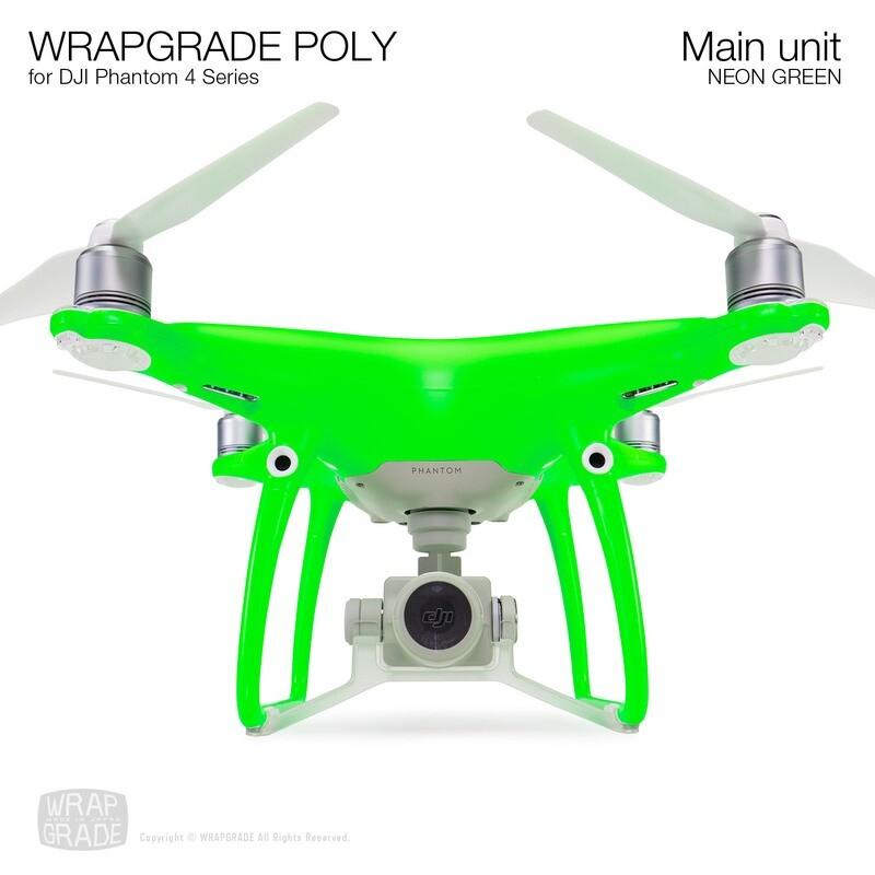 Wrapgrade Poly Skin for DJI Phantom 4 | Main unit (NEON GREEN)