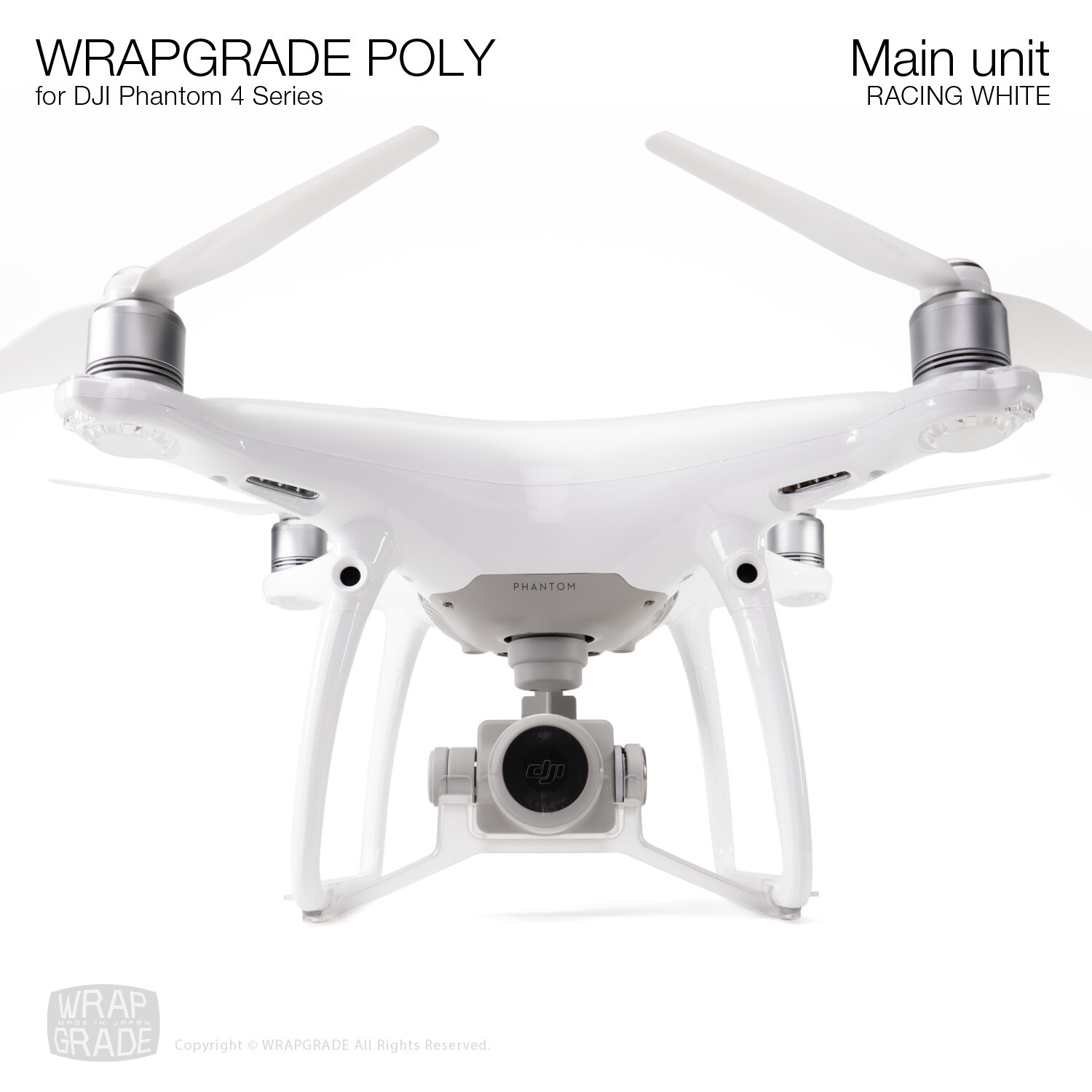 Wrapgrade Poly Skin for DJI Phantom 4 | Main unit (RACING WHITE)