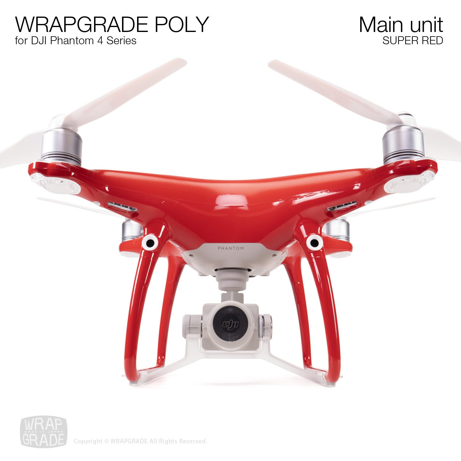 Wrapgrade Poly Skin for DJI Phantom 4 | Main unit (SUPER RED)
