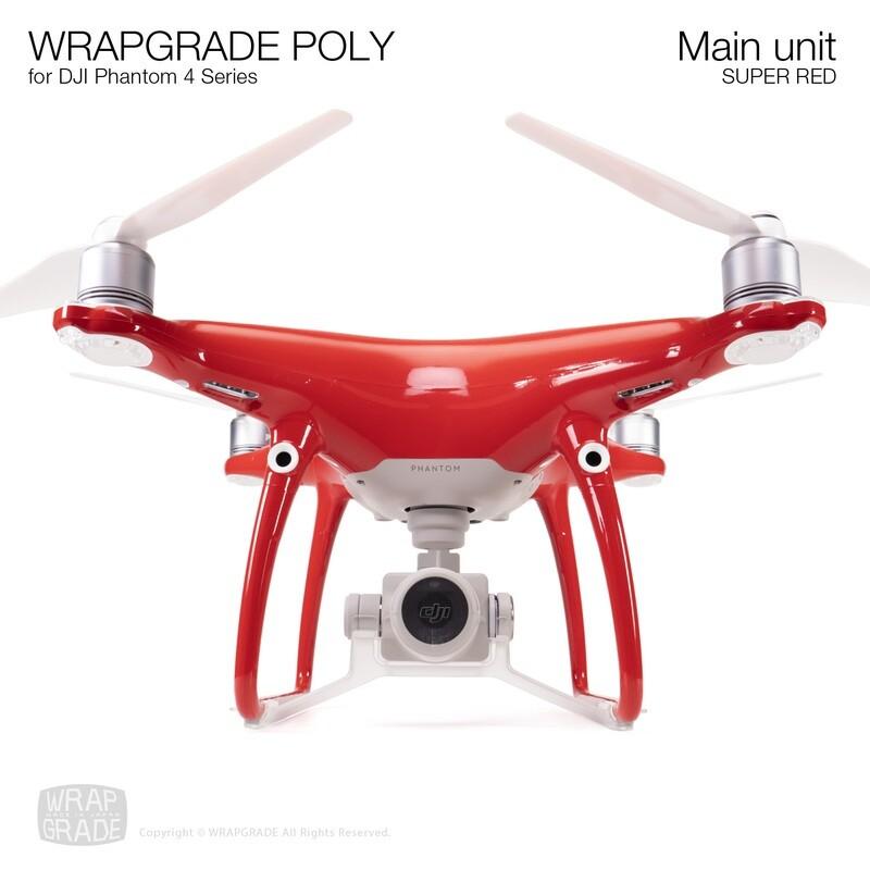 Wrapgrade Poly Skin for DJI Phantom 4 | Main unit (SUPER RED)