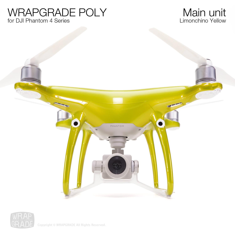 Wrapgrade Poly Skin for DJI Phantom 4 | Main unit (LIMIONCINO YELLOW)