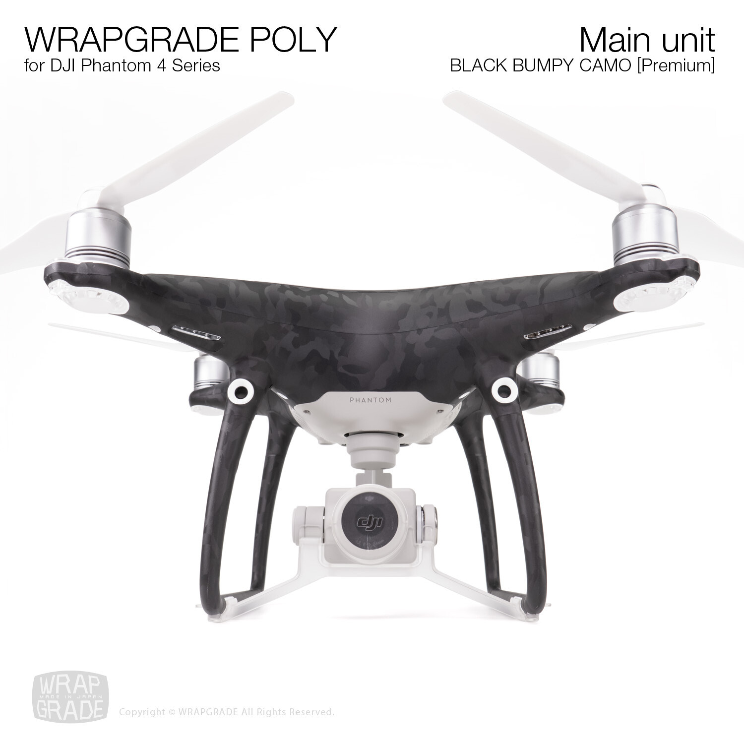 Wrapgrade Poly Skin for DJI Phantom 4 | Main unit (BLACK BUMPY CAMO)