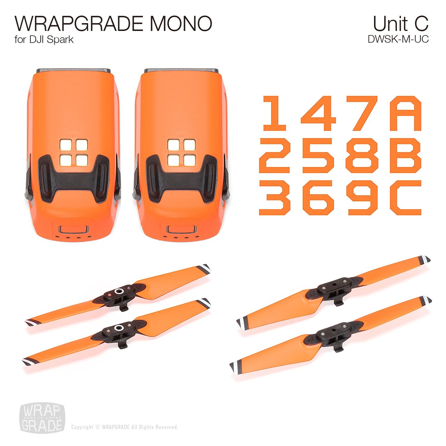WRAPGRADE MONO for DJI Spark Skin | Unit C: 2 Batteries & 4 Propellers (20 colors)