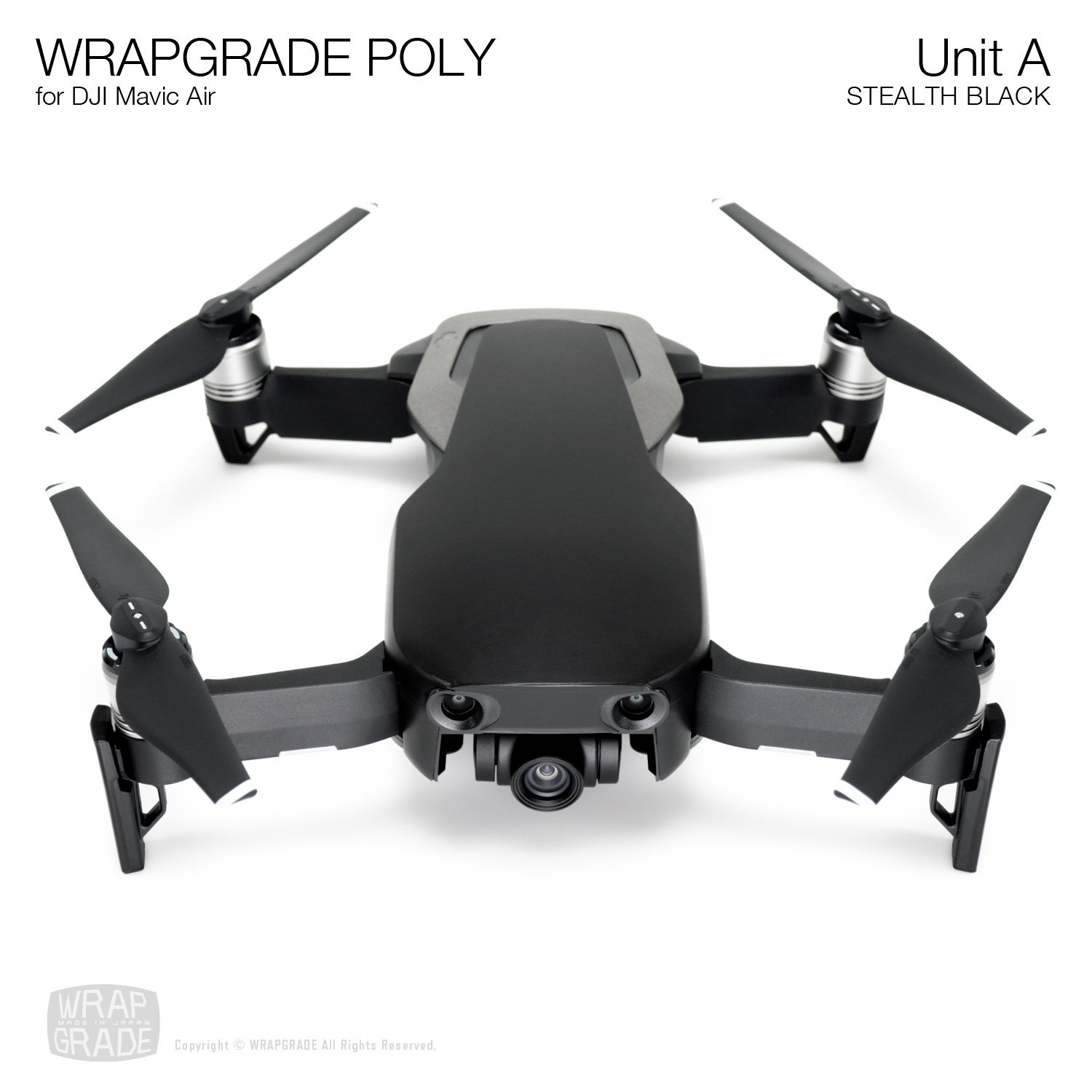 Wrapgrade Poly Skin for DJI Mavic Air | Unit A (STEALTH BLACK)