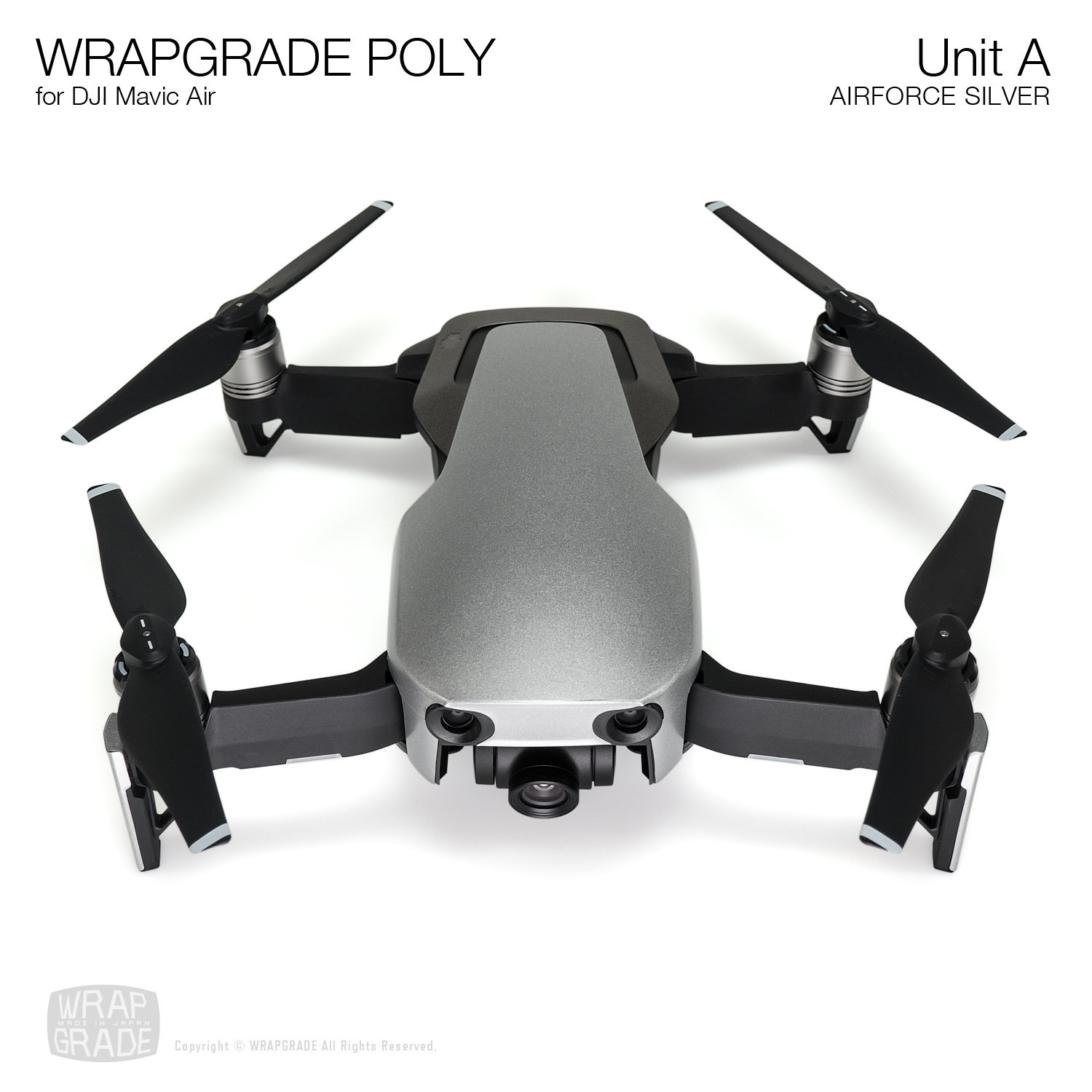 Wrapgrade Poly Skin for DJI Mavic Air | Unit A (AIRFORCE SILVER)