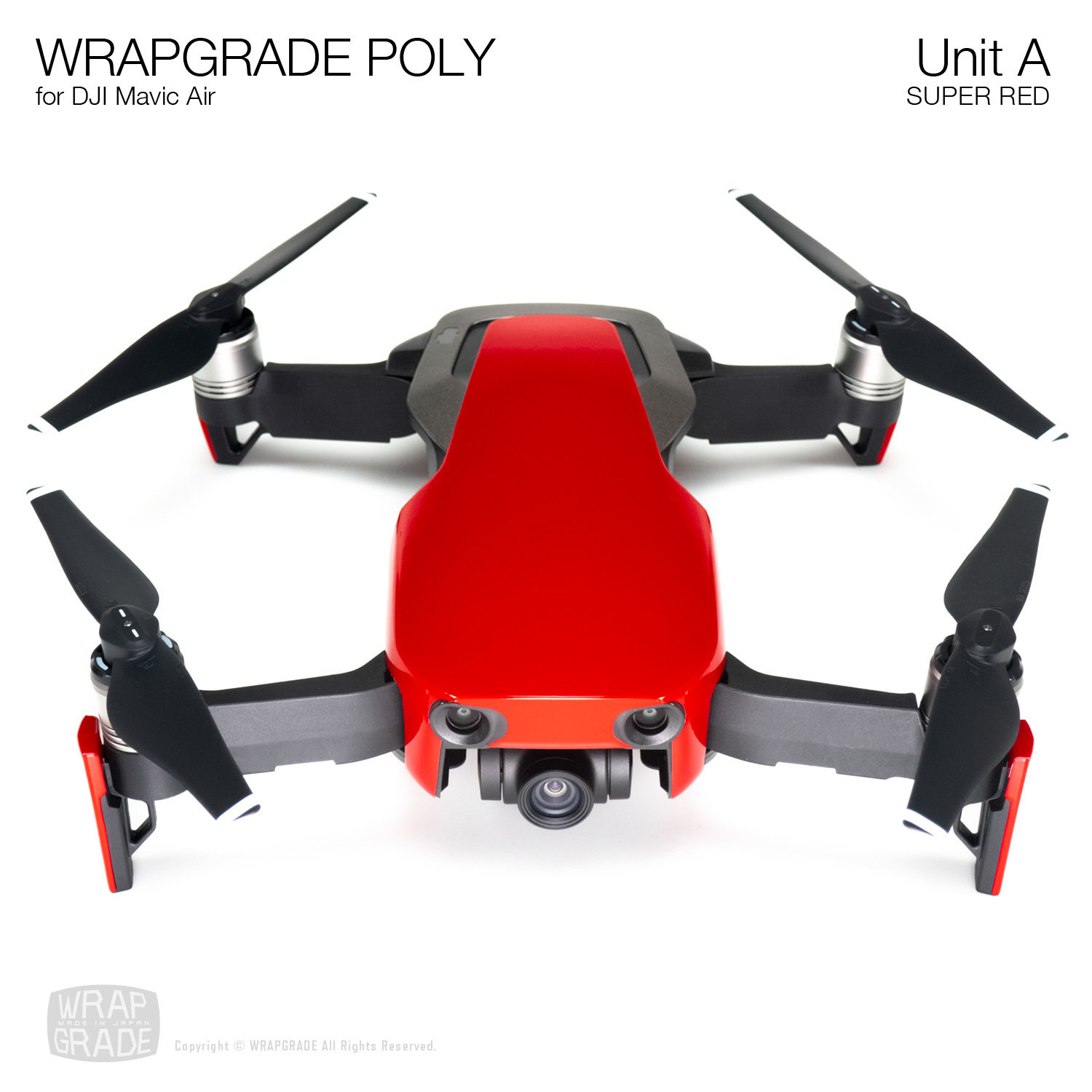 Wrapgrade Poly Skin for DJI Mavic Air | Unit A (SUPER RED)
