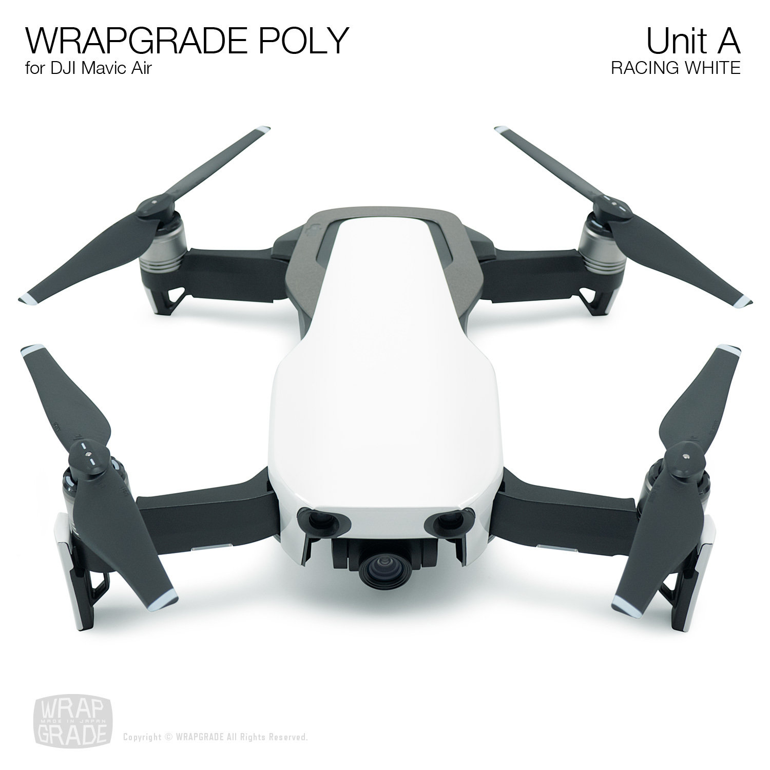 Wrapgrade Poly Skin for DJI Mavic Air | Unit A (RACING WHITE)
