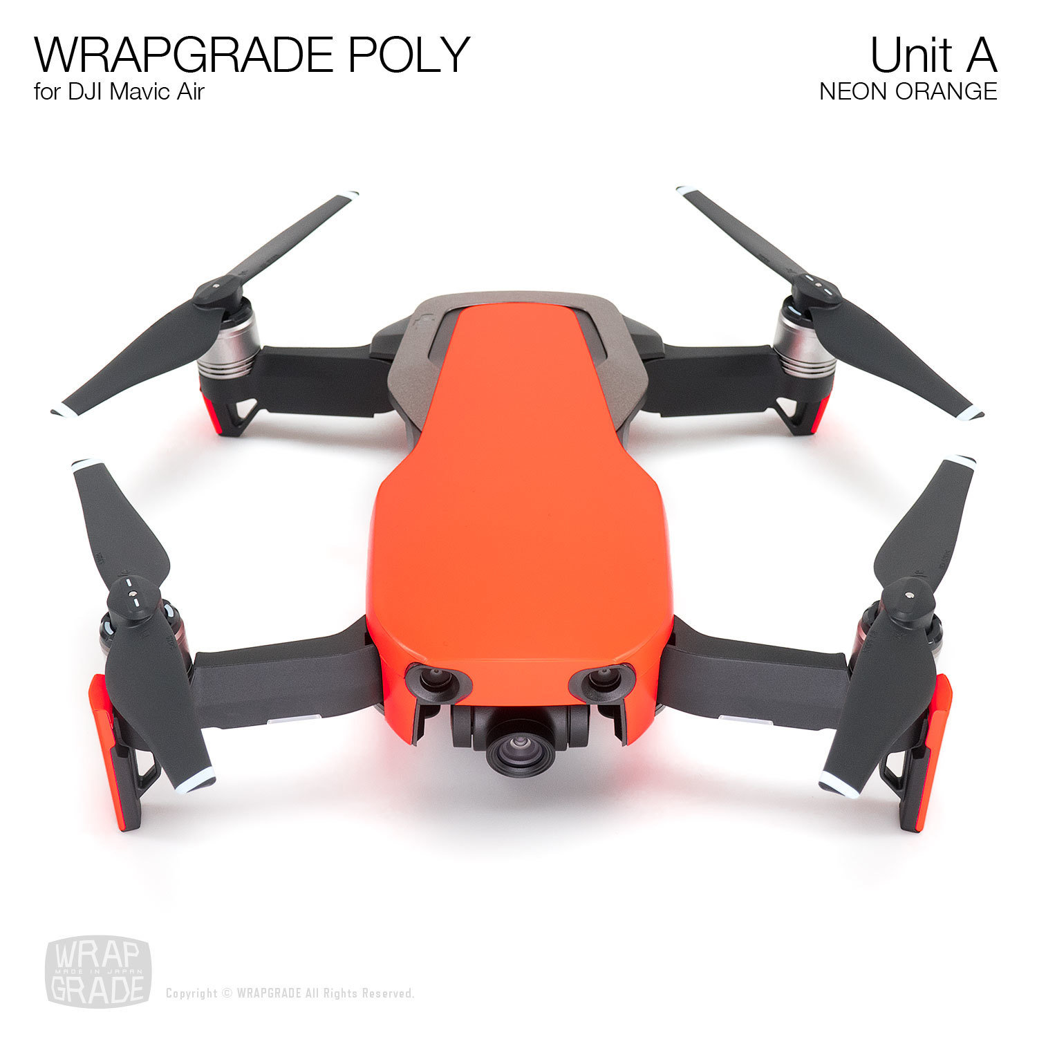 Wrapgrade Poly Skin for DJI Mavic Air | Unit A (NEON ORANGE)