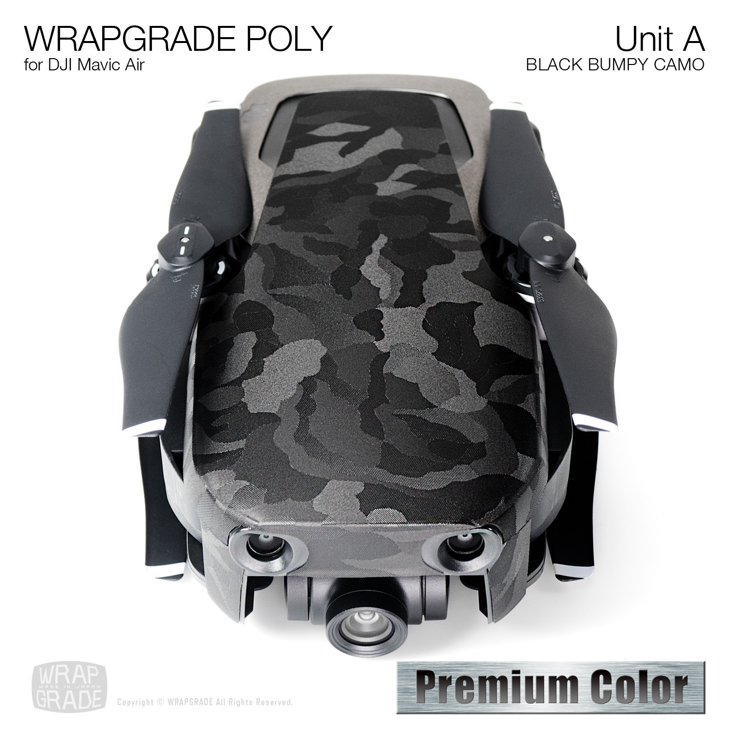 Wrapgrade Poly Skin for DJI Mavic Air | Unit A (BLACK BUMPY CAMO)