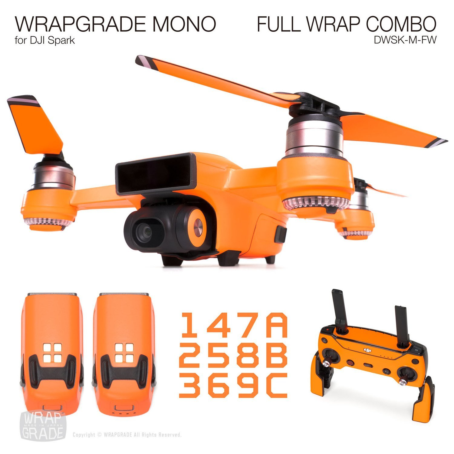 Wrapgrade Mono For Dji Spark Wrapping Skin Sticker Combo Sky Blue Full Wrap 20 Colors