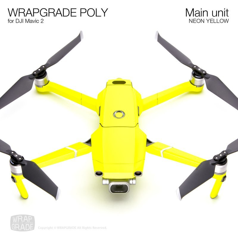 Wrapgrade Poly Skin for DJI Mavic 2 | Main unit (NEON YELLOW)